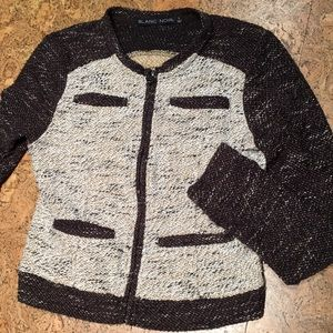 Cropped sweater jacket, lightweight for fall.